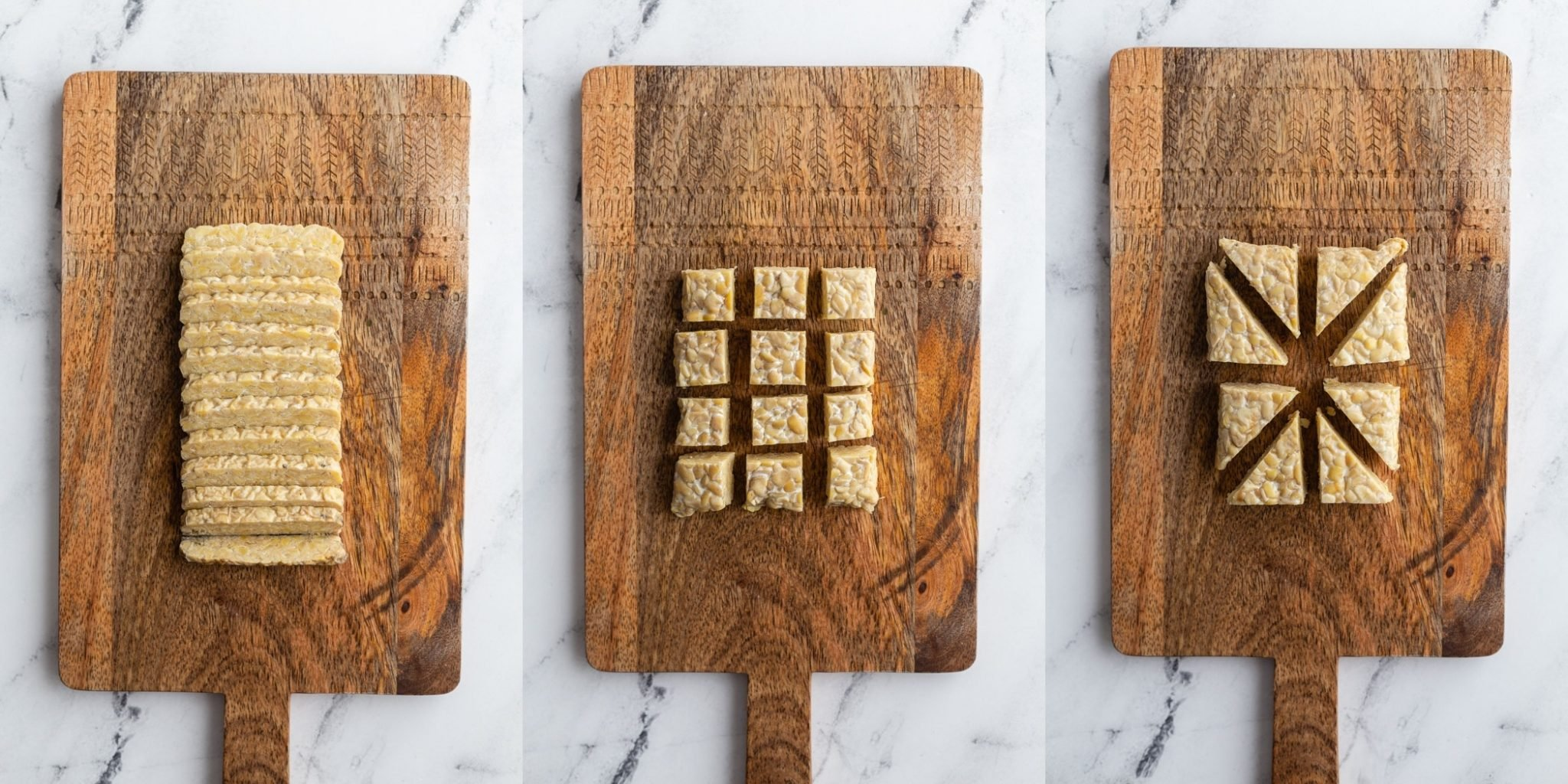 collage of three side by side images. First image is thinly sliced tempeh on a cutting board, second image is cubed tempeh on a cutting board, third image is triangular tempeh on a cutting board
