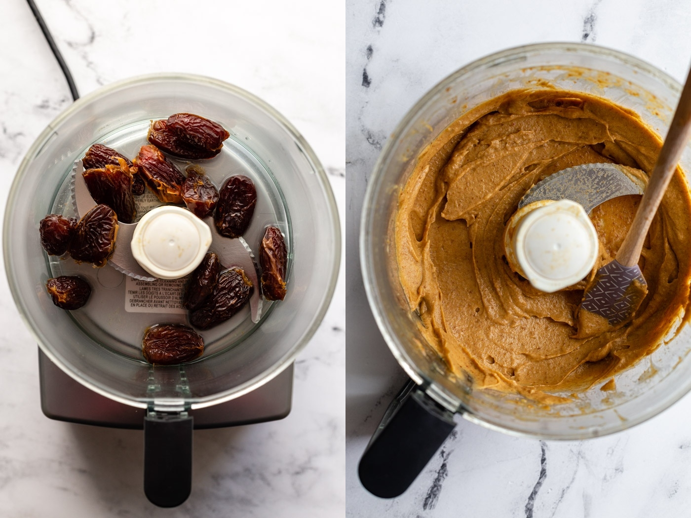 side by side shots. left: medjool dates in a food processor. right: date paste in a food processor