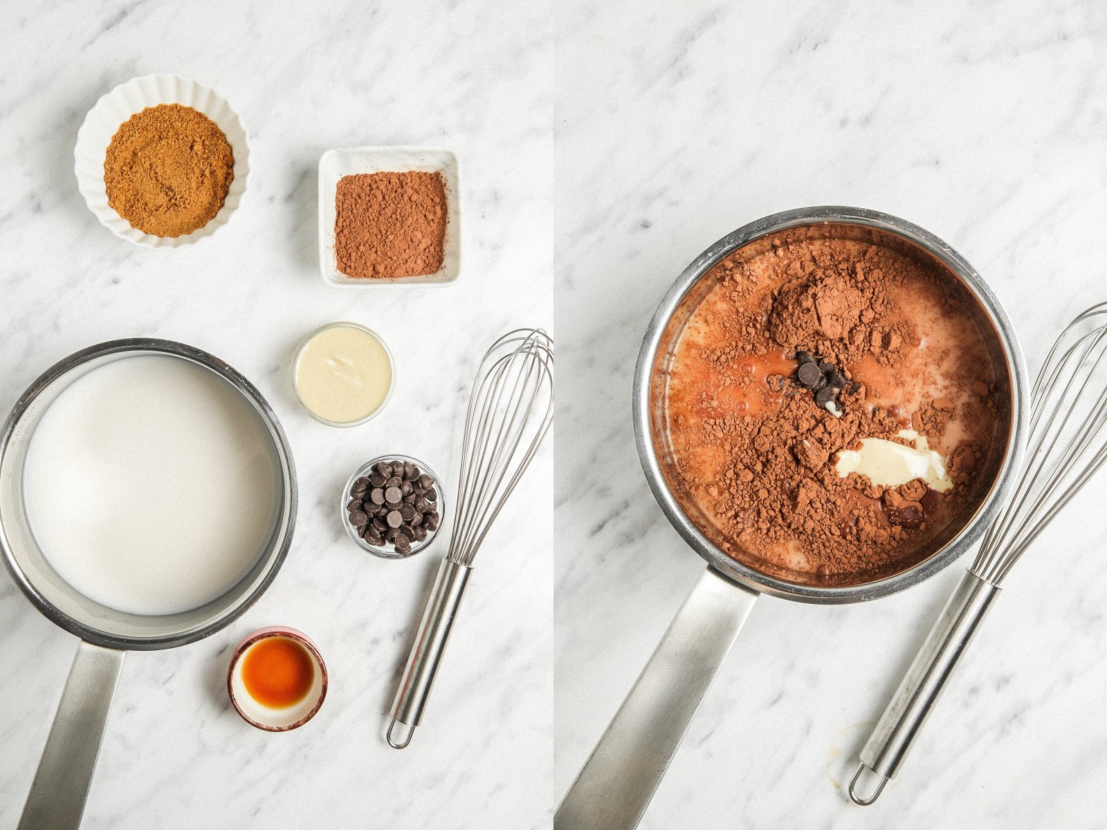 side by side shots. Left: ingredients for vegan hot chocolate laid out including milk in a pot, a whick, cocoa powder, coconut sugar, dark chocolate chips, vanilla Right image: stainless steel pot filled with vegan hot chocolate ingredients: milk, dark chocolate, and cocoa powder