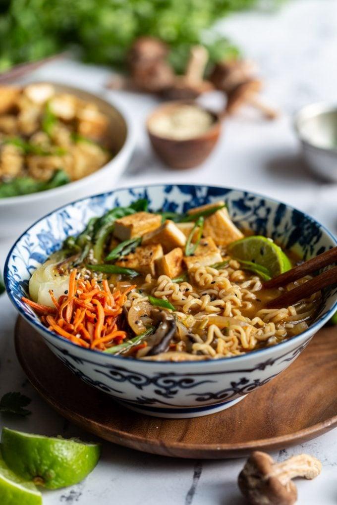 bowl of vegan ramen served with chopsticks