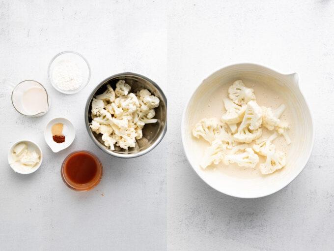 dipping cauliflower in milk/flour mixture