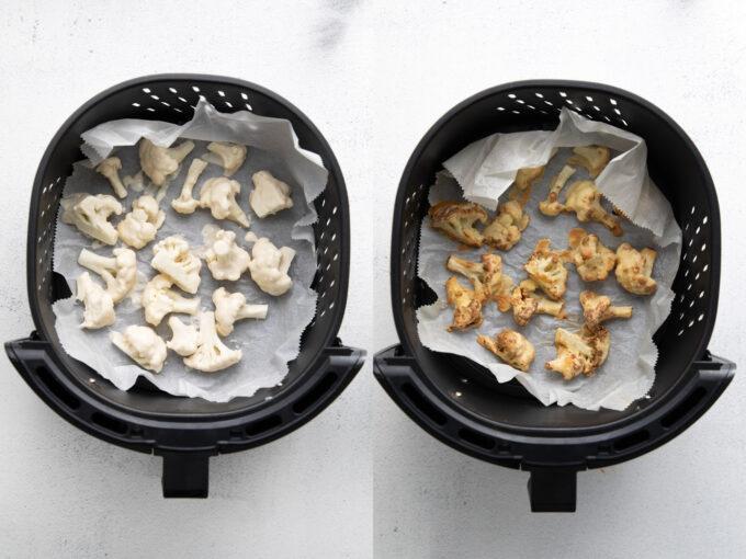 cauliflower florets in an air fryer basket