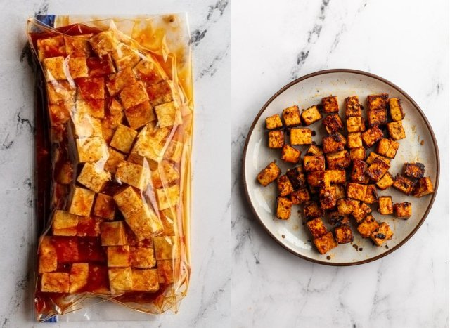 collage image: left image is tofu and bbq marinade in a gallon size baggie. Right image: the cooked bbq tofu on a plate