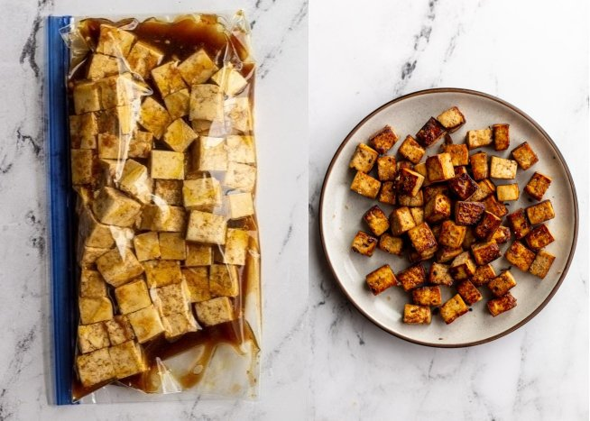 collage image: left image is tofu and Balsamic marinade in a gallon size baggie. Right image: the cooked Balsamic tofu on a plate