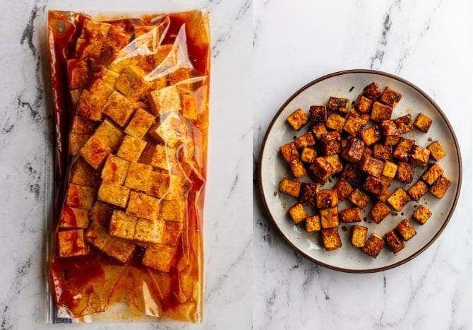 collage image: left image is tofu and Fajita marinade in a gallon size baggie. Right image: the cooked Fajita tofu on a plate