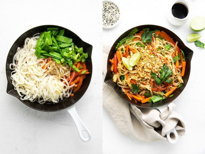 combine noodles, vegetables and sauce for Pad Thai