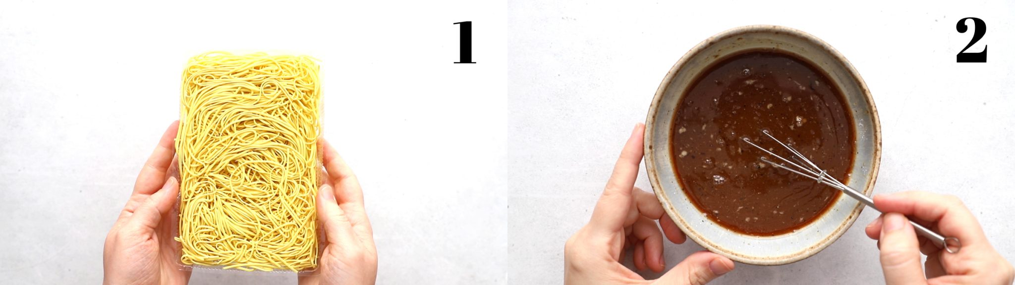 """2 stitched images: left image labeled """"1"""" is hands holding up uncooked chow mein noodles. Right image: labeled """"2"""" is a bowl with hands whisking brown liquid"""