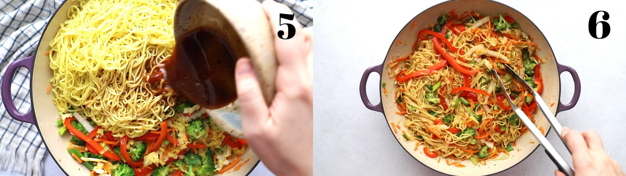"""2 stitched together images: left image is labeled """"5"""" and is sauce being poured over a skillet with noodles and sauteed veggies in it. right image is labeled """"6"""" a d is everything all mixed together in the skillet"""