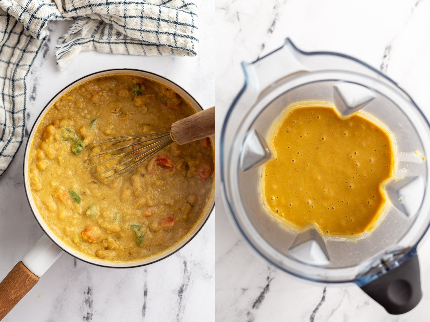 side by side images. Left: vegan ingredients for salsa con queso in a pot. Right image: those same ingredients in a blender base and all blended up