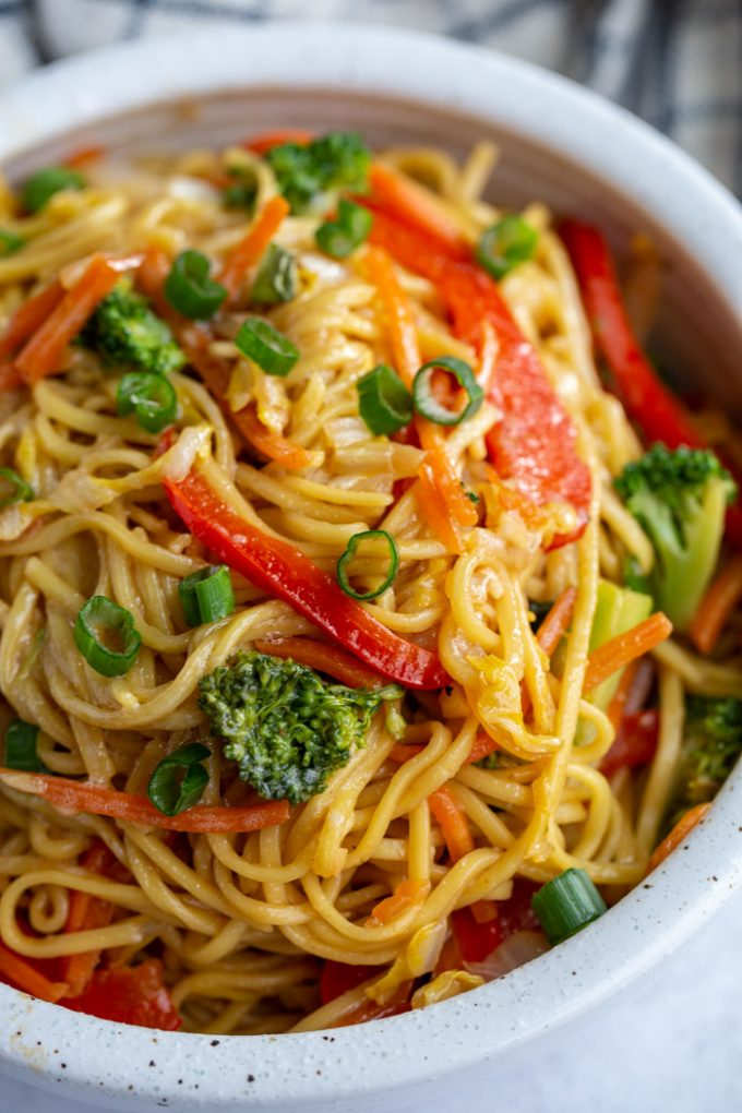 vegetable Chow Mein made with broccoli and red bell pepper