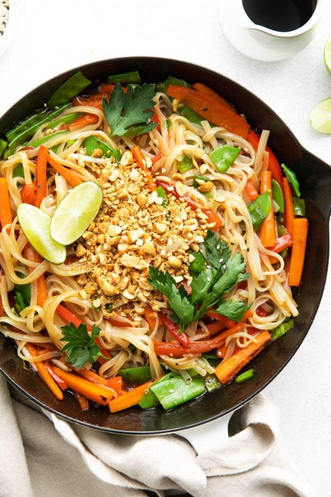 vegan Pad Thai dish in a large skillet