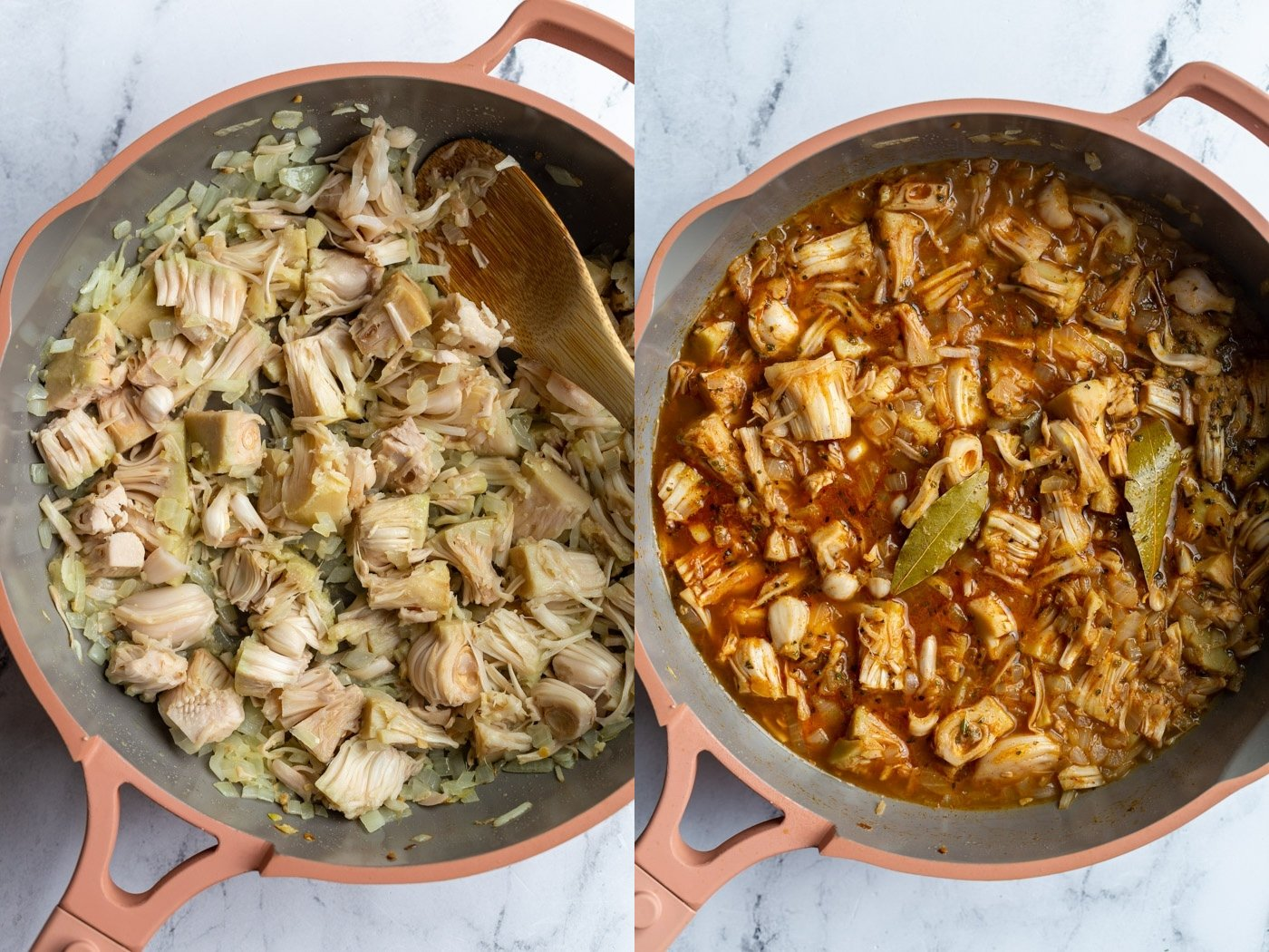 side by side images: left image is jackfruit in a pink skillet with onion. right image is broth and spices added to the skillet with the jackfruit