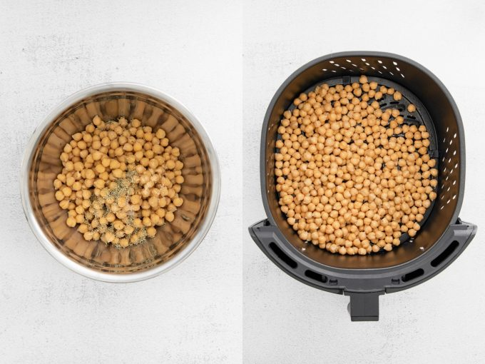 side by side images. Left image: chickpeas in a steel bowl with spices on top of them. Right image: those same chickpeas in the base of an air fryer