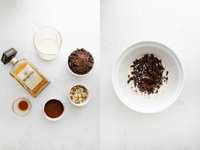 side by side images. left image: ingredients for chocolate truffles including chocolate and amaretto. right image: chopped chocolate in a white bowl