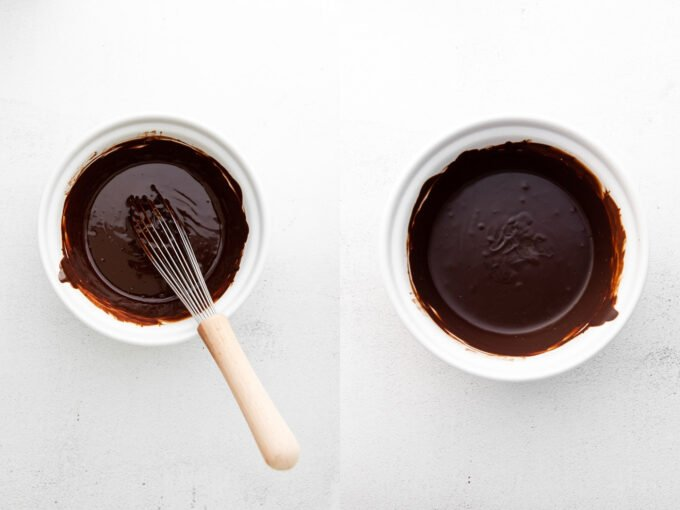 side by side images. left image: white bowl of melted chocolate with a whisk hanging out. Right image: white bowl of chocolate melted