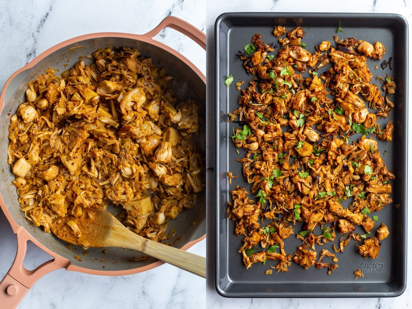 side by side images: left is a pink skillet with jackfruit and spices in it. Right image is shredded jackfruit carnitas on a small baking tray