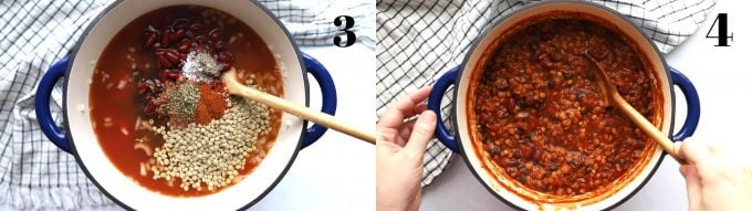 stirring chili in a pot with a wooden spoon