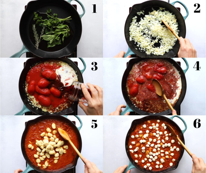 collage image showing the 6 steps of making this gnocchi dish: 1) herbs sauteing in a skillet 2) onion sauteiing in a skillet 3) tomatoes, cream and wine being poured in a skillet 4) wooden spoon working to crush the tomatoes 5) gnocchi being added to the tomato sauce 6) skillet with pearl mozzarella nestled into the tomato sauce