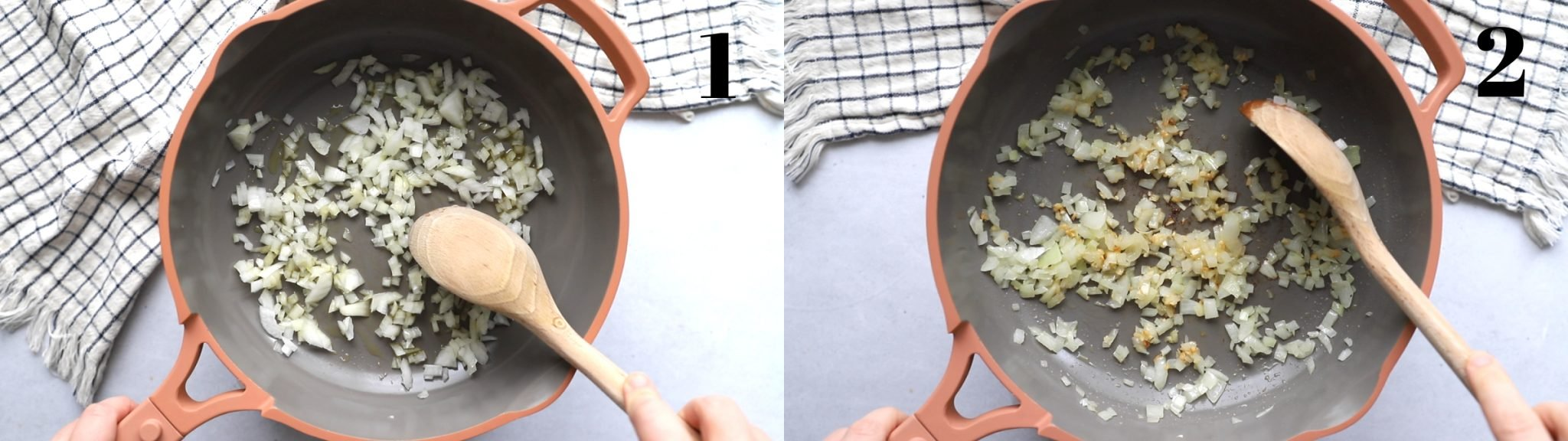 collage image. left image: pink skillet with onion and a wooden spoon in it. Right image: the same skillet with garlic added to the onion