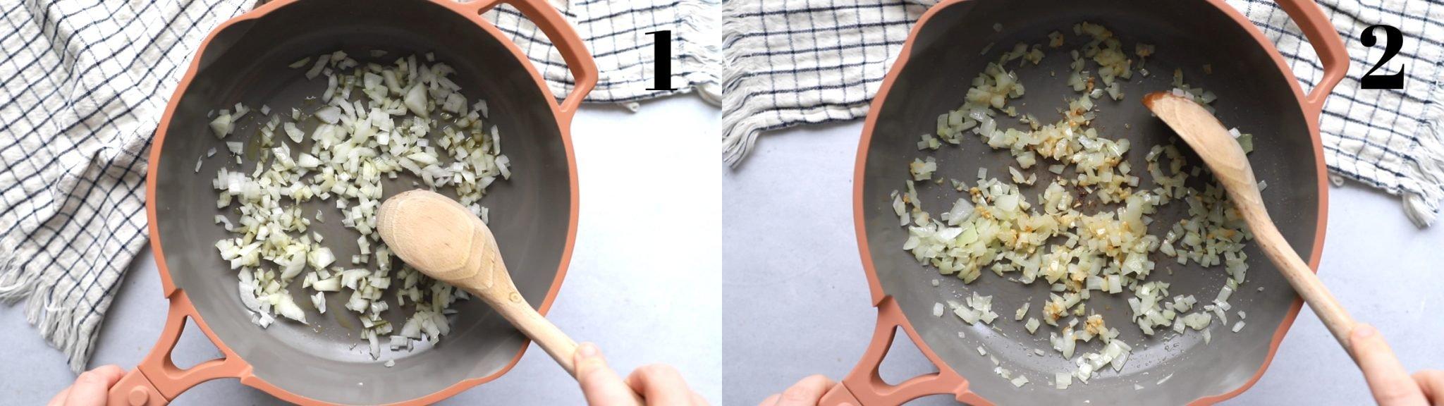 imagem de colagem.  imagem à esquerda: frigideira rosa com cebola e uma colher de pau nela.  Imagem certa: a mesma frigideira com alho adicionado à cebola
