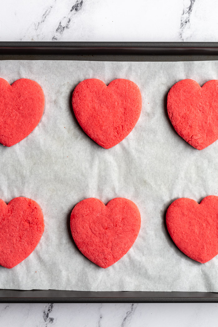 red heart sugar valentines cookies