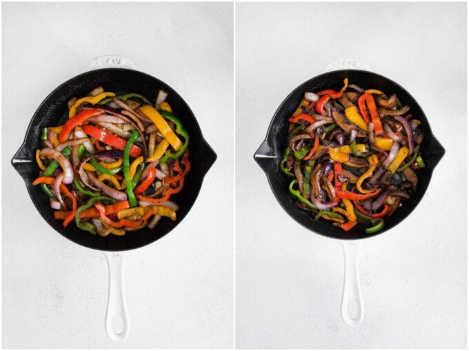 cooking veggies for Vegetarian fajitas