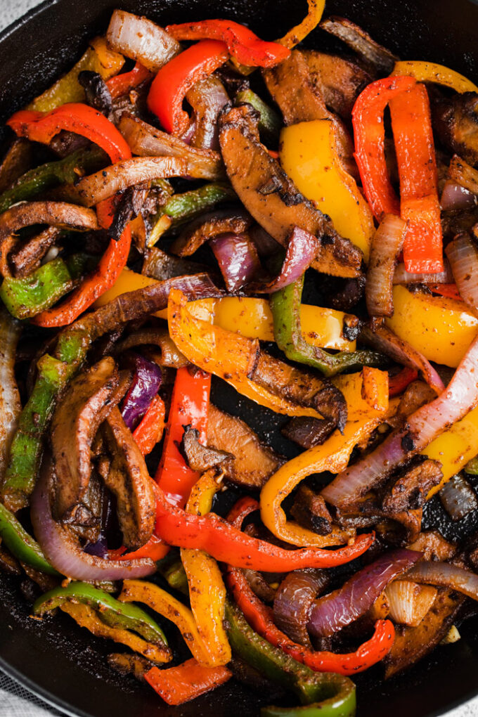 fajita veggies cooked in a skillet