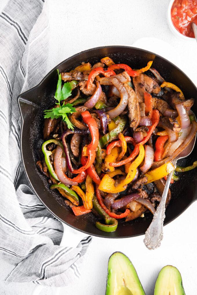 vegetables in a skillet cooked for Vegetarian fajitas