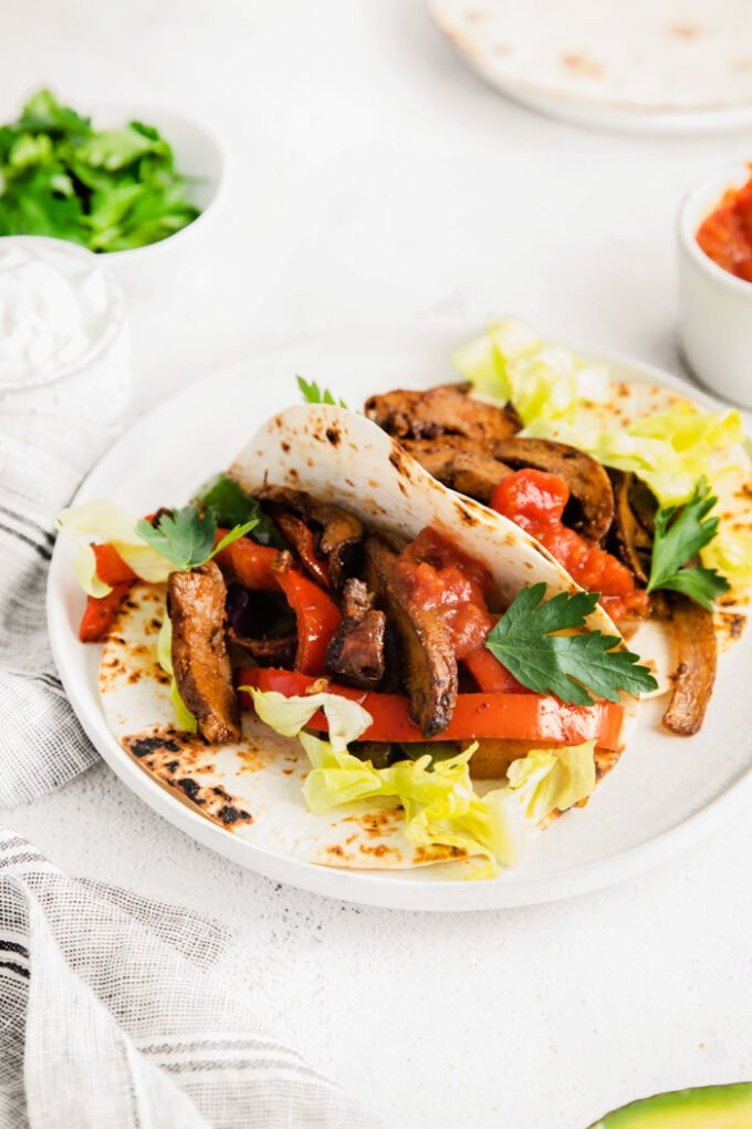 vegetarian fajitas served in tortillas