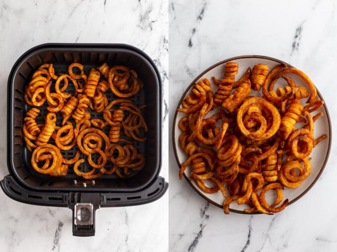 side by side images: left image frozen seasoned curly fries in an air fryer basket. Right image: seasoned curly fries on a plate