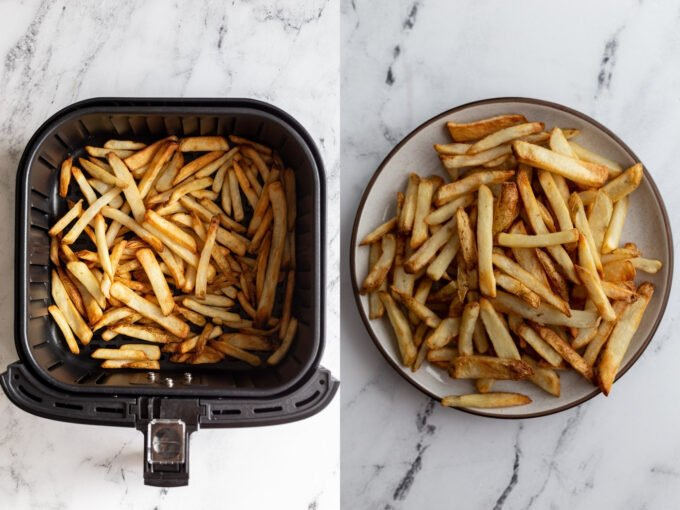 side by side images: left image frozen fries in an air fryer basket. Right image: fries on a plate