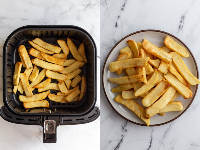 side by side images: left image frozen steak fries in an air fryer basket. Right image: steak fries on a plate