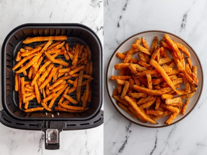 side by side images: left image frozen sweet potato fries in an air fryer basket. Right image: sweet potato fries on a plate