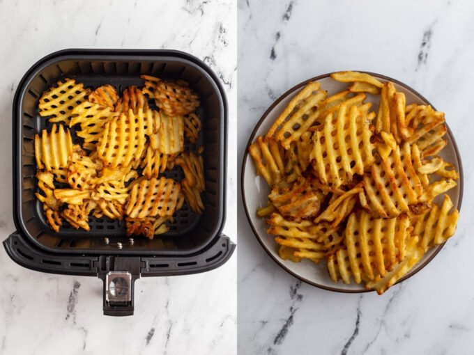 side by side images: left image frozen waffle fries in an air fryer basket. Right image: waffle fries on a plate