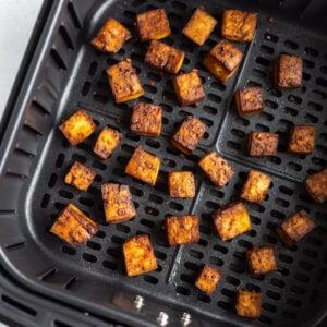 crispy tofu in an air fryer