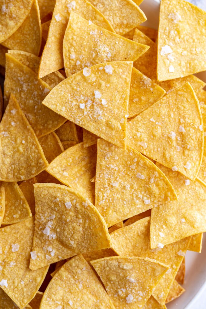 large plate of homemade tortilla chips