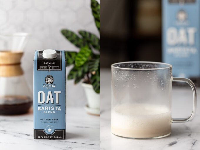side by side images. left: califia farms oat barista coffee creamer on a kitchen counter. right image: that creamer in a clear mug and frothed