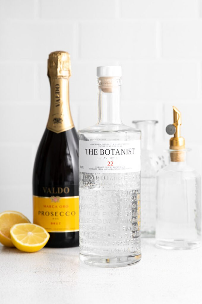 ingredients to make a French 75 Cocktail recipe