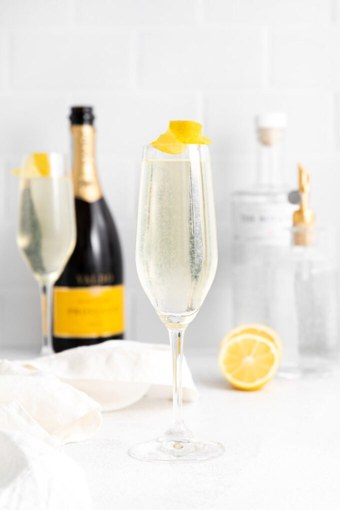 French 75 garnished with lemon