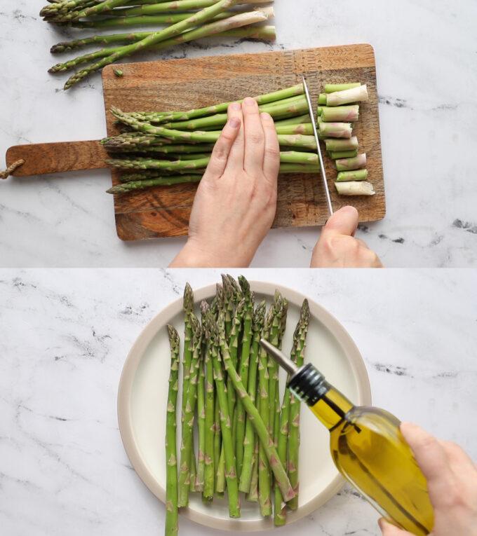 preparing asparagus before cooking