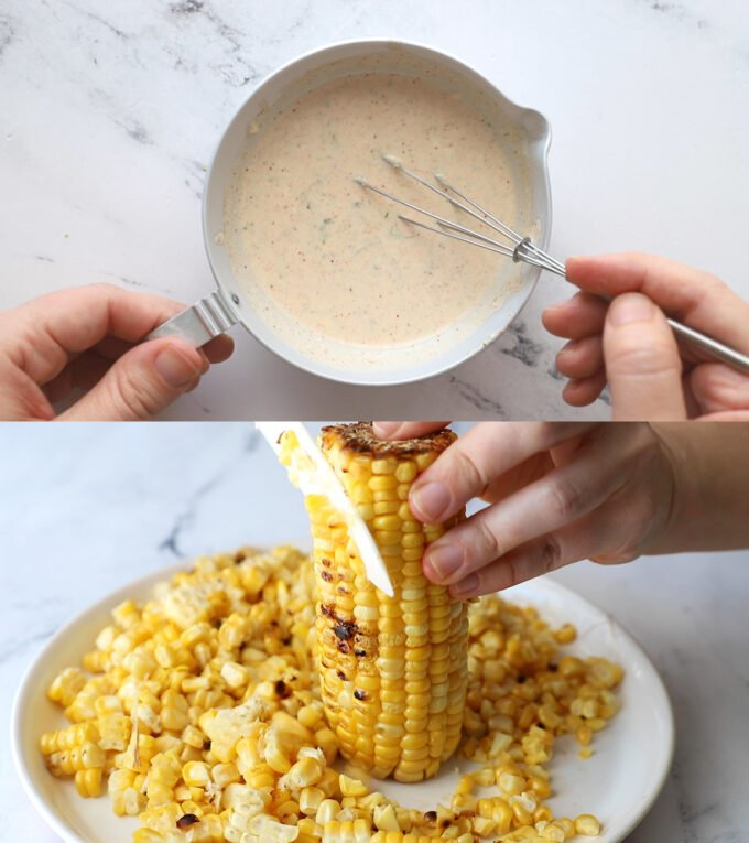 side by side images: top image is sour cream sauce being whisked in a small metal bowl. bottom image is a plate of corn and corn being cut off of the cob