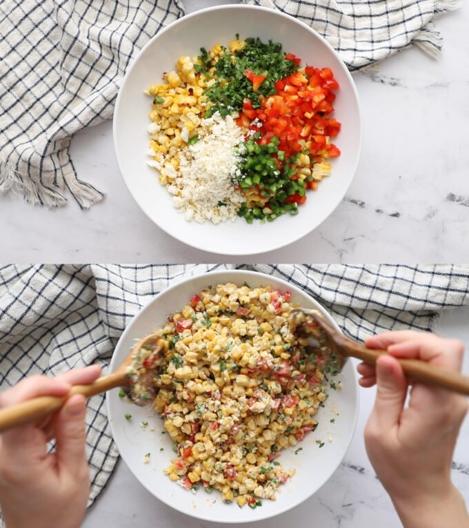 side by side images: top image is bowl full of ingredients for mexican street corn salad and bottom image is the ingredients being mixed together with 2 spoons