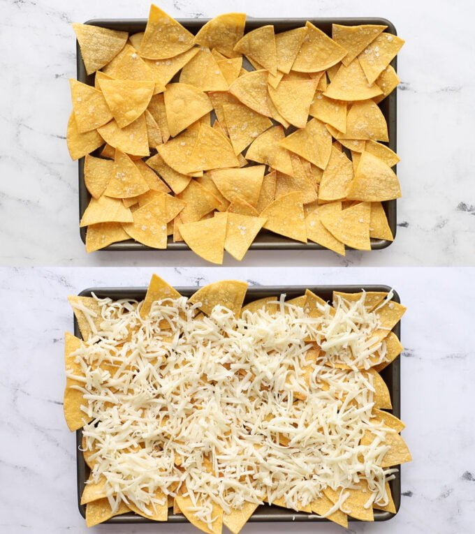 2 images stacked on top of each other: top image is a baking tray filled with chips. Bottom image is the same but with shredded cheese on top of the chips