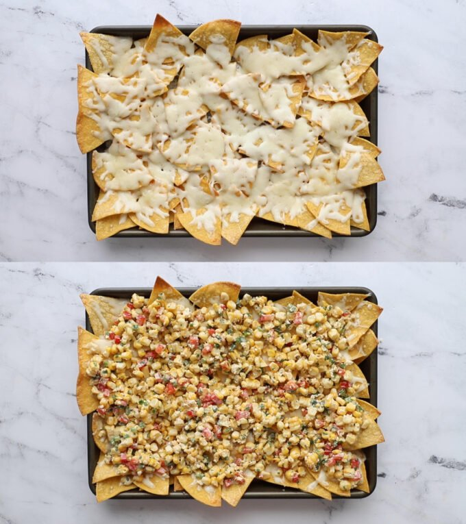 2 images stacked on top of each other: top image is a baking tray covered in chips with melted cheese on top. Bottom image is the same but with corn salad on top of the melted cheese