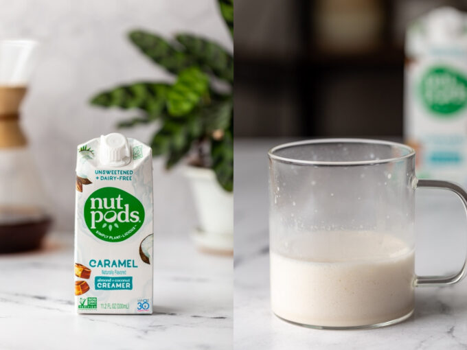 side by side images. left: nut pods caramel coffee creamer on a kitchen counter. right image: that creamer in a clear mug and frothed
