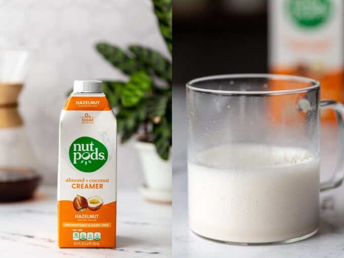 side by side images. left: nut pods hazelnut coffee creamer on a kitchen counter. right image: that creamer in a clear mug and frothed