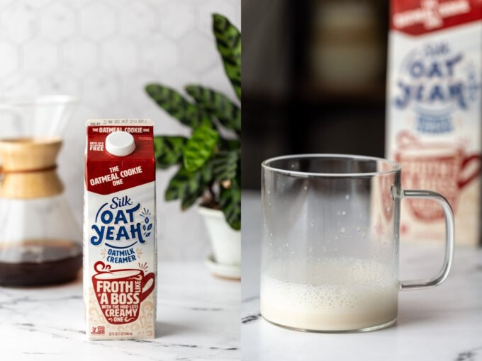 side by side images. left: silk oat yeah coffee creamer on a kitchen counter. right image: that creamer in a clear mug and frothed