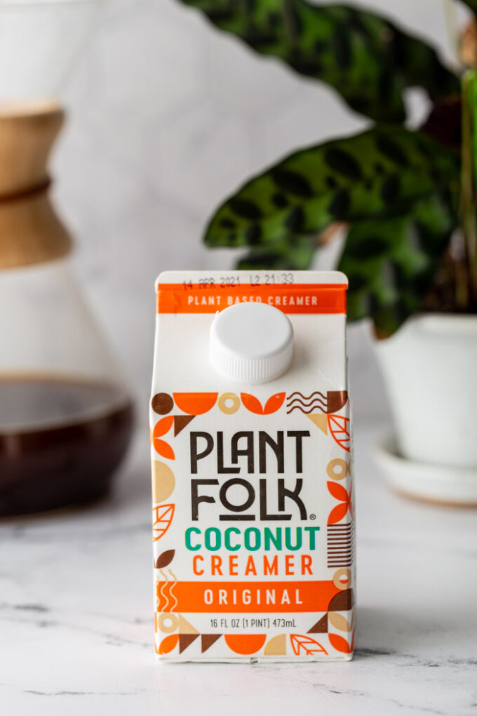 plant folk coconut creamer carton on a kitchen counter