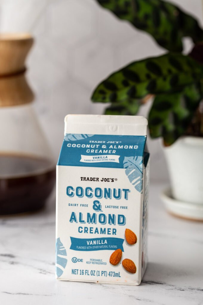 carton of trader joes coconut creamer on a kitchen counter