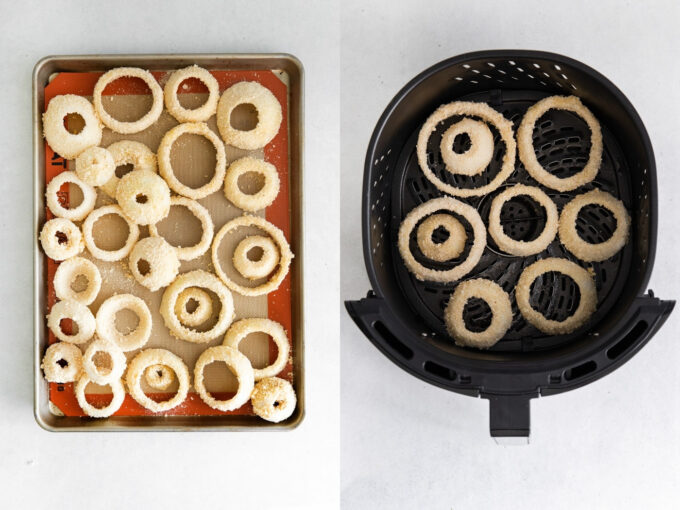 preparing onions to be cooked in an air fryer to make air fryer onion rings
